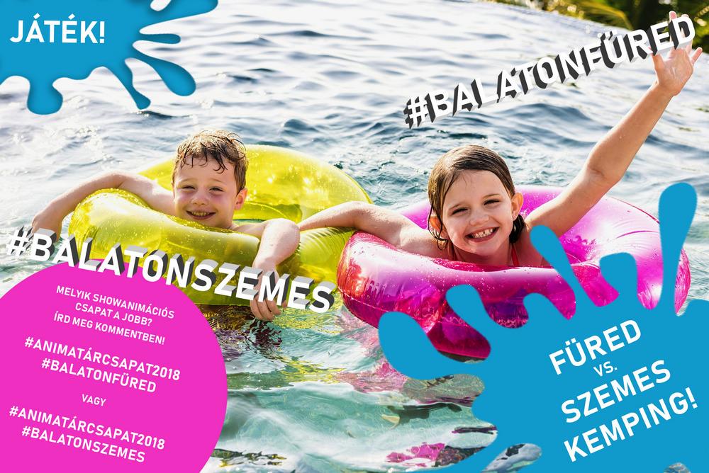 Gyerekek a medencében úszógumival játszanak